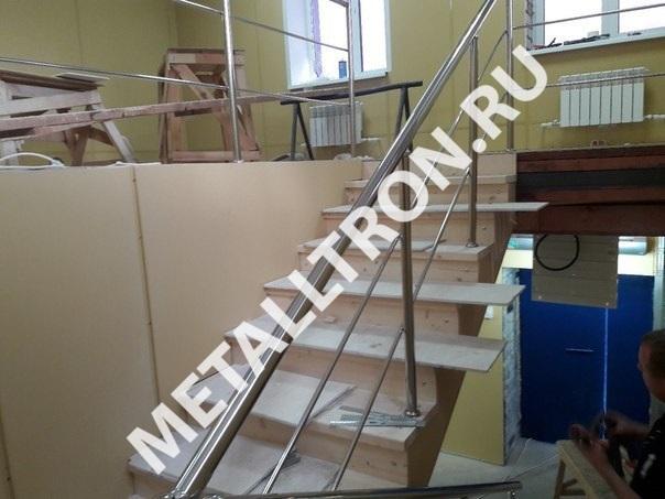 Изготовление лестничных ограждений из нержавеющей стали для офиса