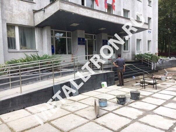 Изготовление и монтаж пандуса из нержавеющей стали для больницы