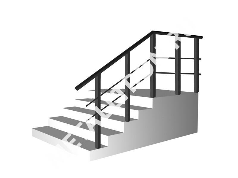Лестничные ограждения c 2 ригелями