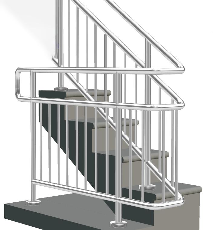 Лестничные ограждения для школ и садов с двойным поручнем