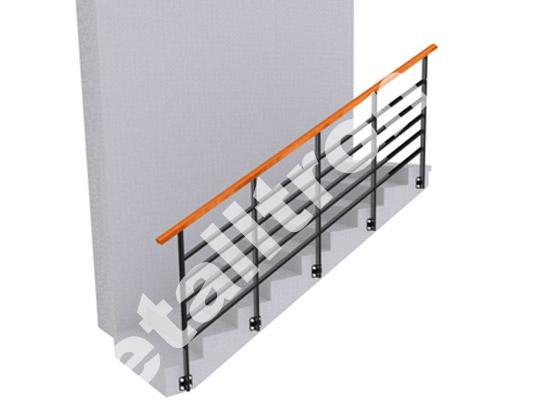 Ограждения с поручнем из полосы для монтажа деревянного или ПВХ поручня.